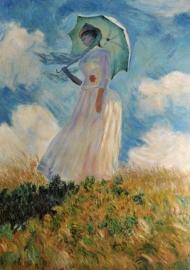 Monet reproductie, Vrouw met parasol 88 x 131 cm Verkocht!