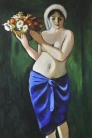 Macke reproductie, Frau eine Blumenschale tragend 50 x 80 cm Verkocht!