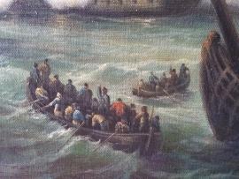 Van de Velde reproductie, De Slag bij Texel formaat 90 x 160 cm Verkocht!