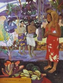 Gauguin reproductie, Ia Orana Maria formaat 90 x 120 cm Verkocht!