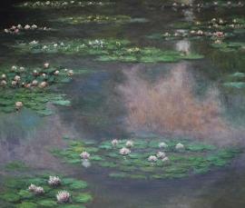 Monet reproductie, Waterlelies 4 formaat 90 x 100 cm Verkocht!