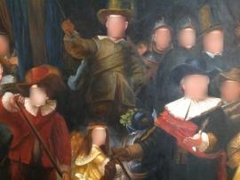 Repr Nachtwacht Rembrandt met andere gezichten formaat 90 x 140 cm