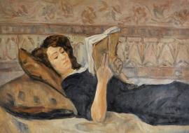 Israels (I.) reproductie, Vrouw lezend op sofa formaat 80 x 110 cm Verkocht!