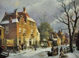 Koekkoek reproductie, Winterlandschap (straatgezicht) in de zon formaat 145 x 110 cm Verkocht!