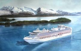 Schilderij van foto (cruiseschip) formaat 100 x 60 cm