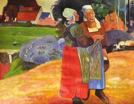 Gauguin reproductie, Paysannes bretonnes 90 x 120 cm Verkocht!