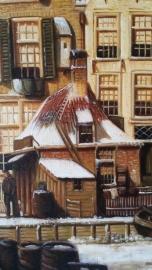 Koekkoek (W) reproductie, Stadsgezicht winter formaat 60 x 90 cm Verkocht!