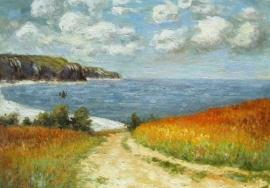 Monet reproductie, Strandpad tussen de korenvelden bij Pourville formaat 78 x 58 cm Verkocht!