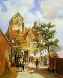 W Koekkoek reproductie, Straat in Haarlem 30 x 40 cm Verkocht!