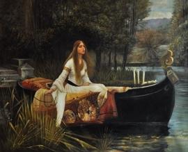 Waterhouse reproductie, The Lady of Shalott 75 x 100 cm Verkocht!