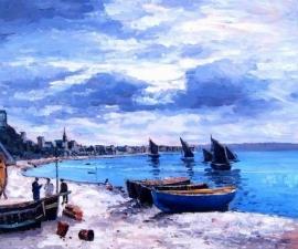 Monet reproductie, Strand van Sainte-Adresse formaat 60 x 80 cm Verkocht!