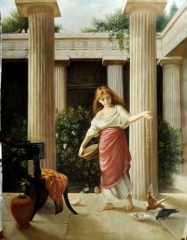 Waterhouse reproductie, In de Peristijl 60 x 80 cm Verkocht!