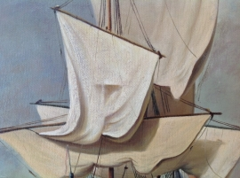 van de Velde reproductie, Kanonschot formaat 60 x 70 cm Verkocht!