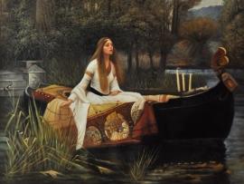 Waterhouse reproductie, The Lady of Shalott 90 x 120 cm Verkocht!