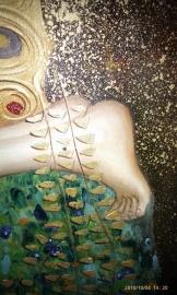 Klimt reproductie, De Kus  formaat 100 x 100 cm Verkocht!