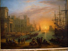 Port de mer au soleil cochant