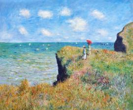 Monet reproductie Wandeling op rotstoppen bij Pourville Verkocht!