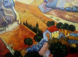 van Gogh reproductie, Vallei met ploegers van bovenaf gezien 1889 75 x 100 cm Verkocht!