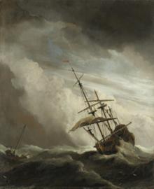 """Een schip in volle zee bij vliegende storm, bekend als """"De windstoot"""""""