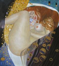 Klimt reproductie, Danae formaat 110 x 120 cm Verkocht!