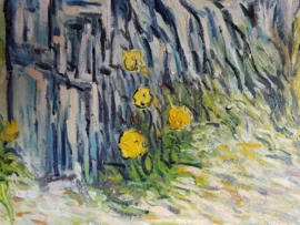 van Gogh reproductie, Pijnbomen en paardenbloemen in de tuin van het Saint-Paul ziekenhuis Verkocht!