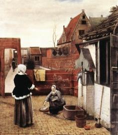 de Hooch, Een vrouw en haar werkster op de binnenplaats
