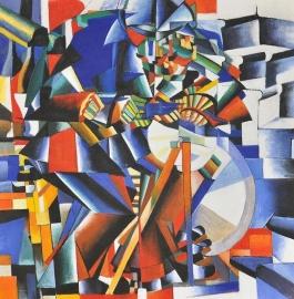 Malevich reproductie, Messenslijper formaat 70 x 70 cm Verkocht!