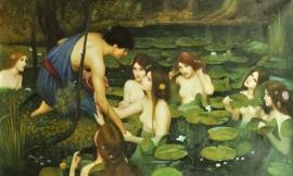 Waterhouse reproductie, Hylas en de nimfen formaat 163 x 98 cm Verkocht!