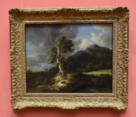 Bergachtig landschap met eikenboom en korenveld
