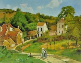 Pissarro reproductie, Hermitage in Pontoise formaat 90 x 120 cm Verkocht!