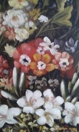 Rubens reproductie, Moeder en kind in sluier van bloemen 60 x 80 cm Verkocht!