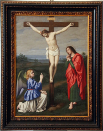 Cristo crofisso tra un angelo e San Giovanni Evangelista