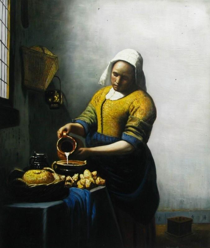 Het melkmeisje reproductie, Vermeer 57 x 48 cm Verkocht!