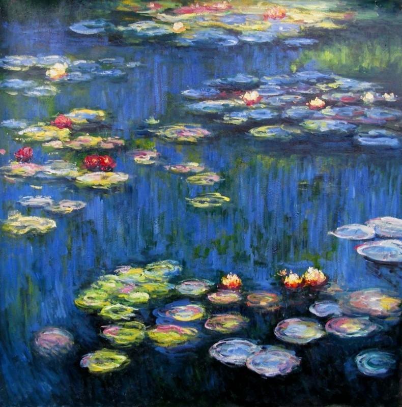Monet reproductie, Waterlelies 80x80cm Verkocht!