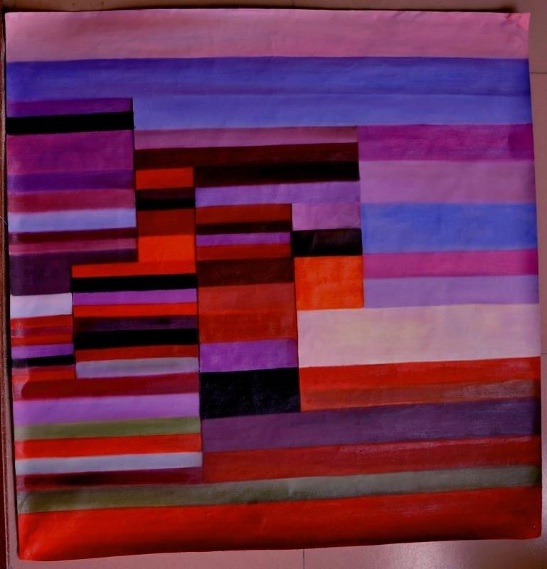 Klee reproductie, Vuur in de avond 100 x 100 cm Verkocht!