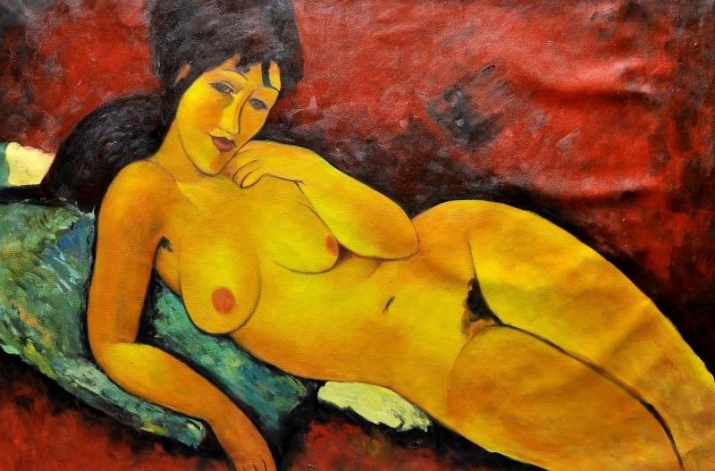 Modigliani reproductie, Naakt op een blauw kussen formaat 90 x 135 cm Verkocht!