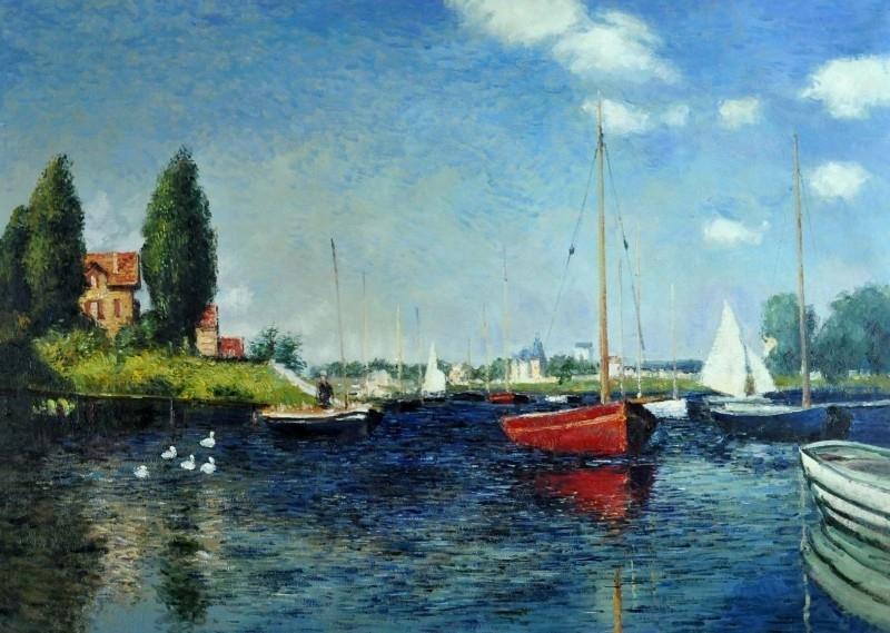 Monet reproductie, Rode boten in Argenteuil 90 x 120 cm Verkocht!