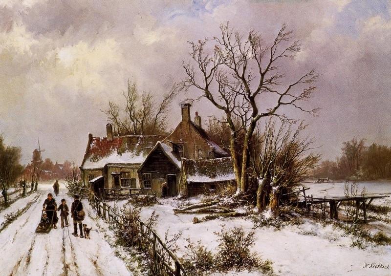 Koekkoek, Winterlandschap met boerderij