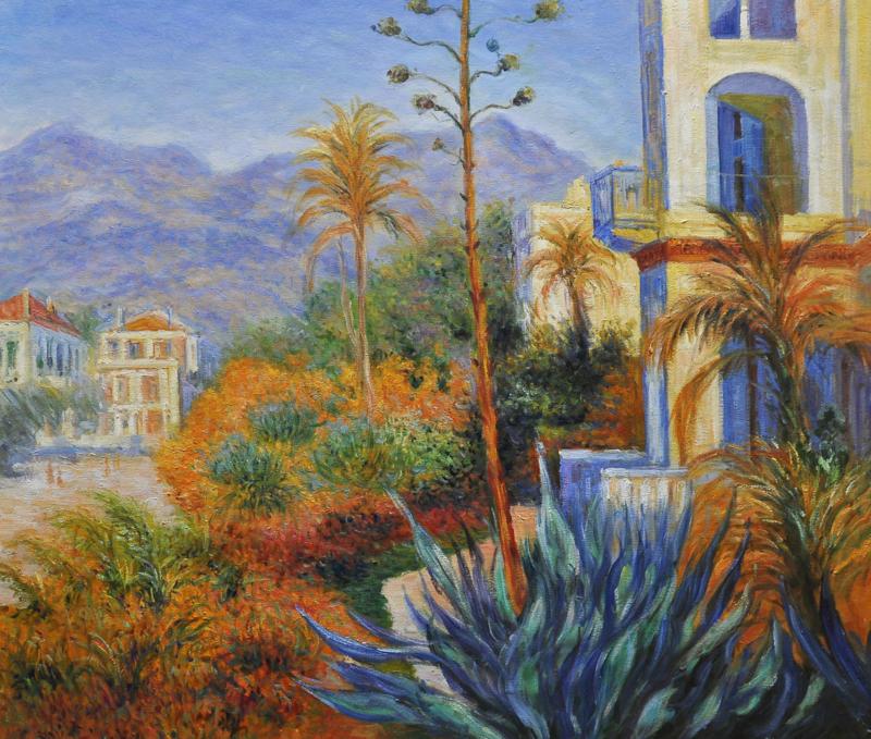 Monet reproductie, Villa's in Bordighera formaat 75 x 90 cm Verkocht!