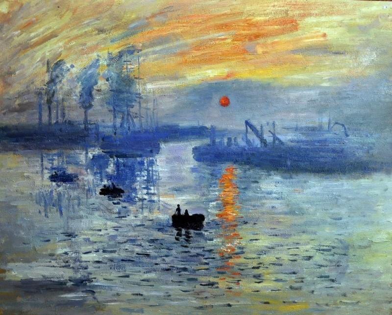 Monet reproductie, Soleil Levant 48 x 63 cm Verkocht!