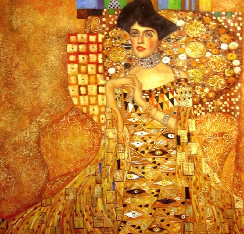 Klimt reproductie, Portret van Adele Bloch-Bauer 110 x 110 cm Verkocht!