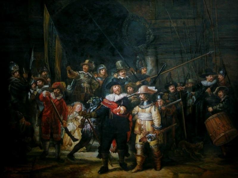 Rembrandt reproductie, Nachtwacht formaat 90 x 120 cm Verkocht!