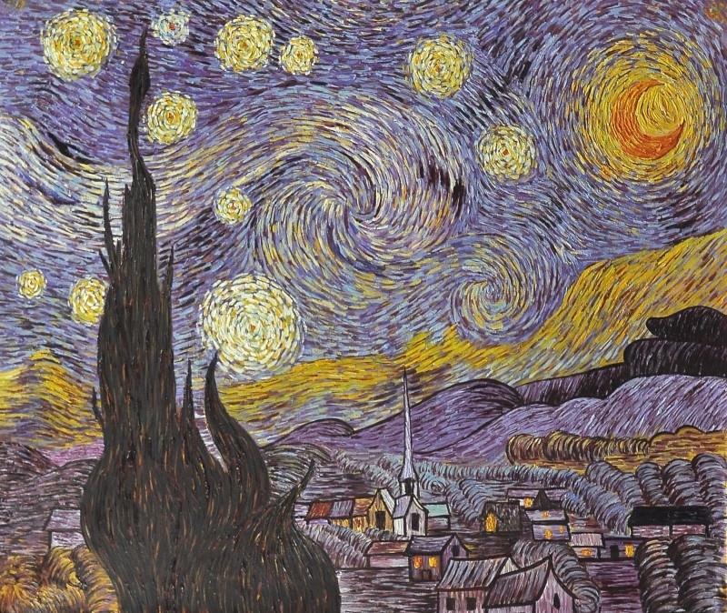 van Gogh reproductie, Sterrennacht formaat 75 x 90 cm Verkocht!