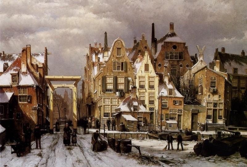 Koekkoek, Stadsgezicht winter