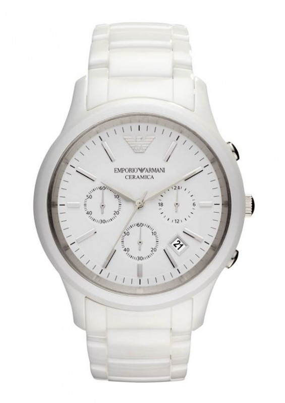 Armani horloge AR1453. Wit Keramiek!