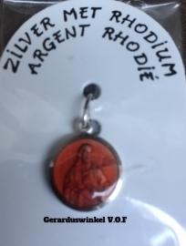 Zilveren Heilig hart rood medaille