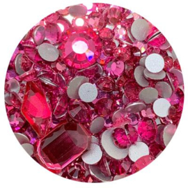Diva Crystal Mix Hot Pink different shapes