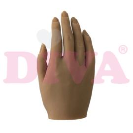 Siliconen hand rechts met standaard - Amber