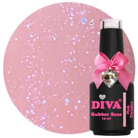 Diva Gellak Rubber Basecoat Pink Twinkle 15 ml