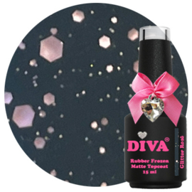 Diva Rubber Frozen Matte Topcoat Glitter Rosé - No Wipe 15 ml